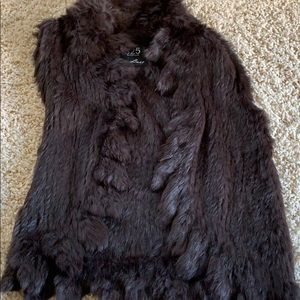 525 America Dark Brown Rabbit Fur Vest Medium